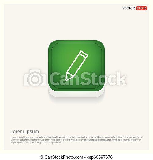 Pencil icon Green Web Button - csp60597676