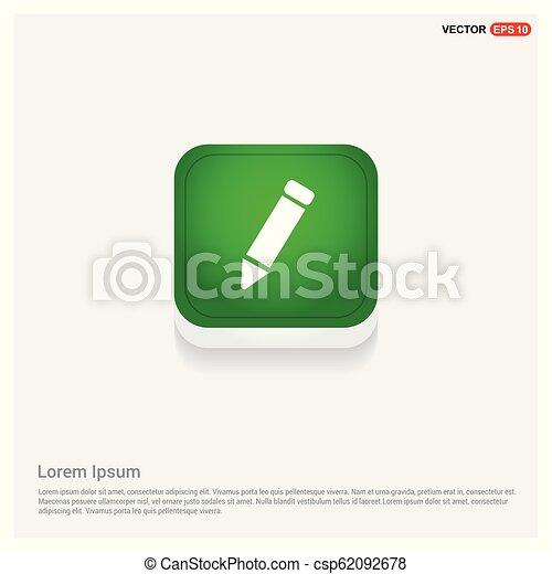 Pencil icon Green Web Button - csp62092678