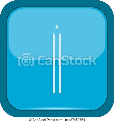 Pencil icon on a blue button - csp37450764
