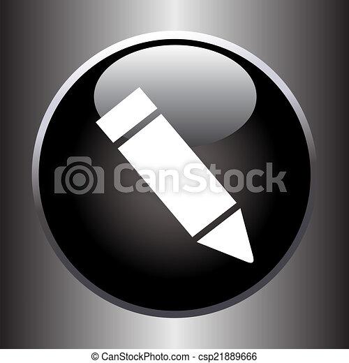 Pencil icon on black button - csp21889666