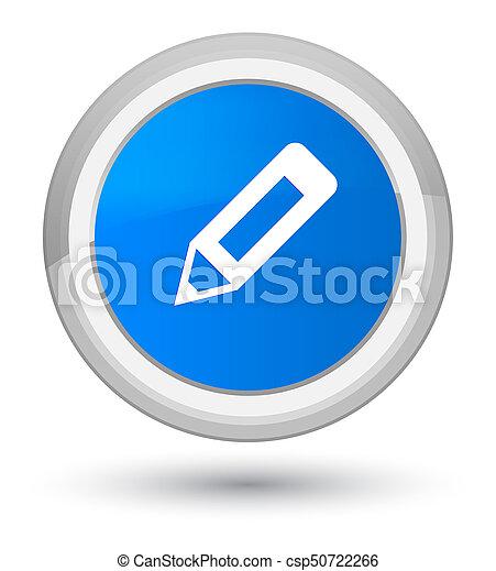 Pencil icon prime cyan blue round button - csp50722266