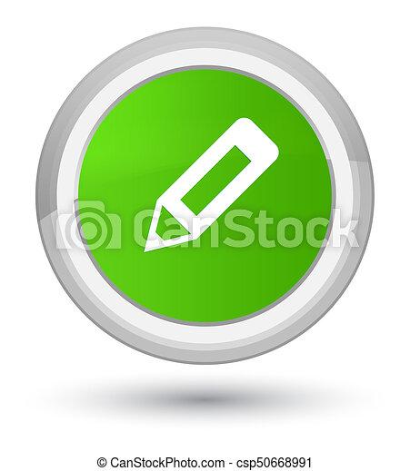 Pencil icon prime soft green round button - csp50668991