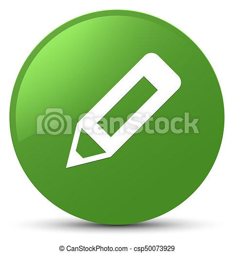 Pencil icon soft green round button - csp50073929