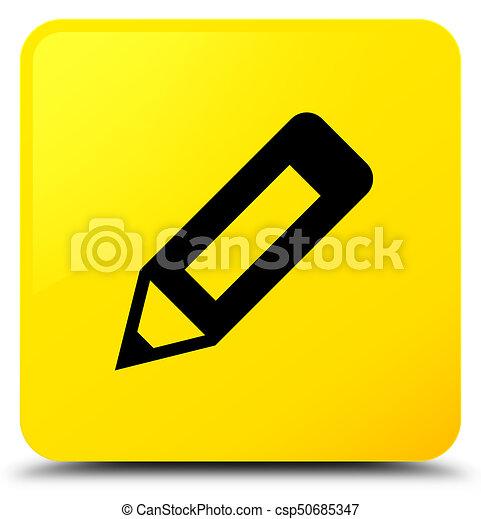 Pencil icon yellow square button - csp50685347