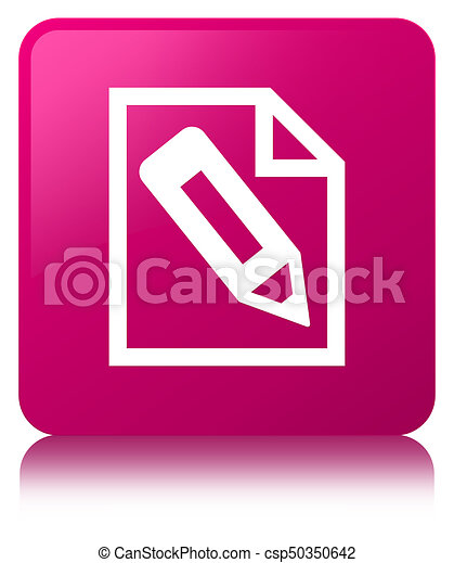 Pencil in page icon pink square button - csp50350642
