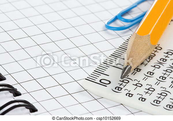 pencil on checked notebook - csp10152669