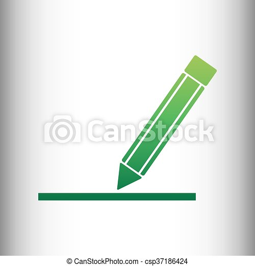 Pencil sign. Green gradient icon - csp37186424