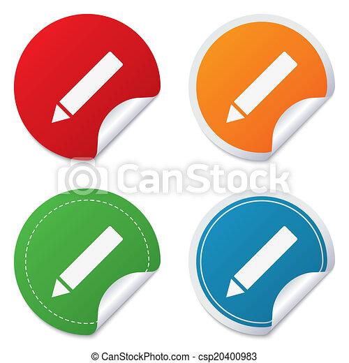 Pencil sign icon. Edit content button. - csp20400983