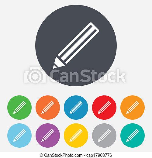Pencil sign icon. Edit content button. - csp17963776