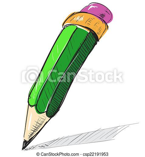 Pencil sketch cartoon vector illustration - csp22191953