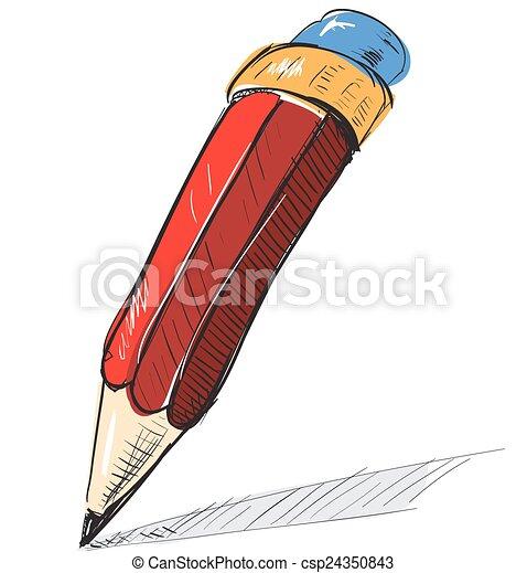 Pencil sketch cartoon vector illustration - csp24350843