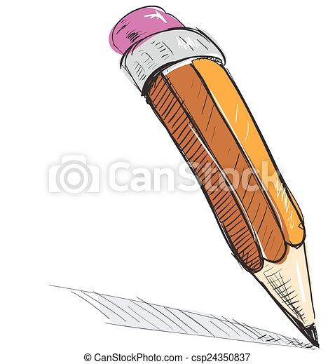 Pencil sketch cartoon vector illustration - csp24350837