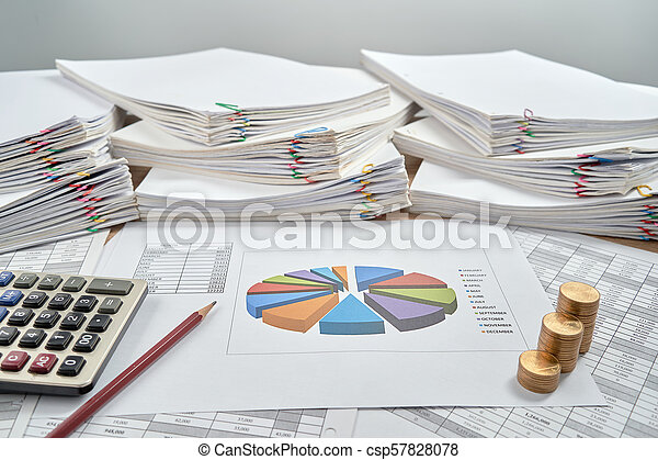 Pencil with pie chart of sale report monthly white background - csp57828078