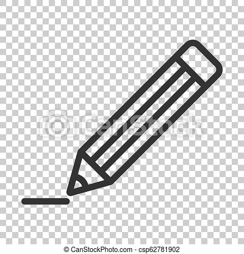 Pencil with rubber eraser icon in flat style. Highlighter vector illustration on isolated background. Pencil business concept. - csp62781902