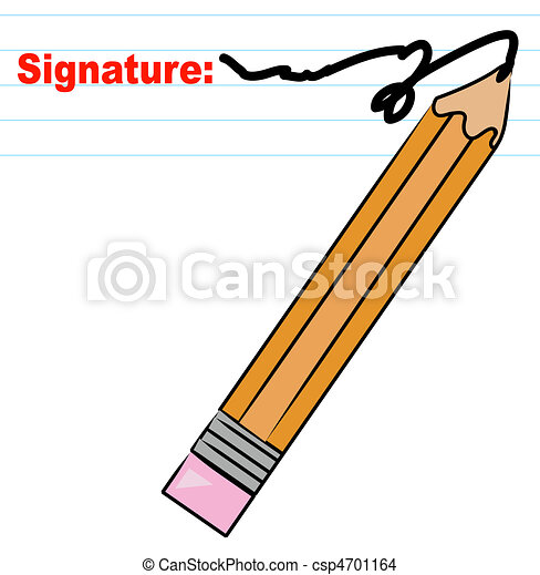 Pencil Writing Signature On Lined Paper   Csp4701164