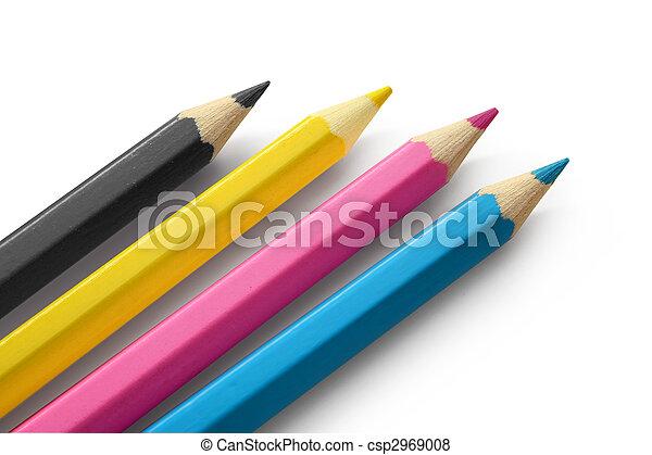 Pencils cmyk colors - csp2969008