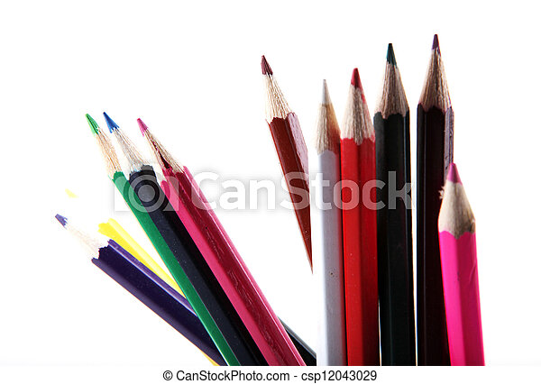 pencils isolated on white background - csp12043029