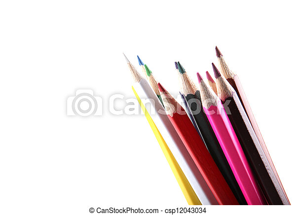 pencils isolated on white background - csp12043034