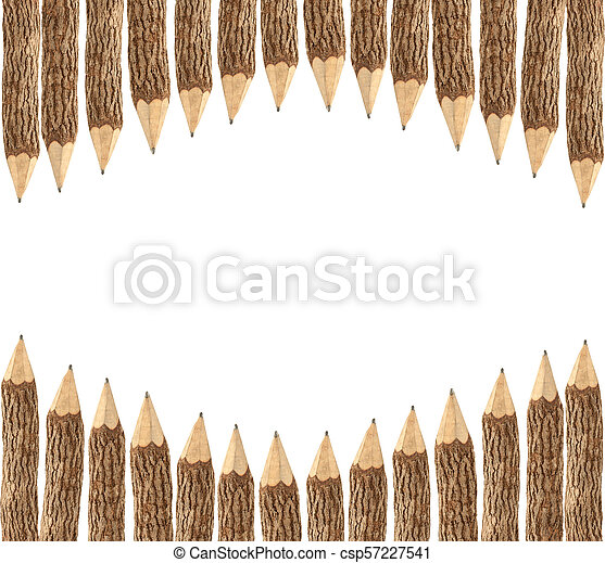 Pencils with copy space isolated on white background - csp57227541