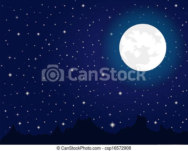 pendant, clair, nuit, étoiles, lune - csp16572908