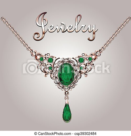 Pendant necklace with precious stones and filigree jewelry lettering. Vintage jewelry background - csp39302484