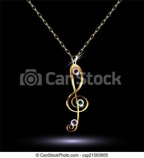 pendant with a treble clef - csp21563605