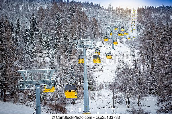 Una toma panorámica de tranvías de tranvías en ladera de esquí - csp25133733
