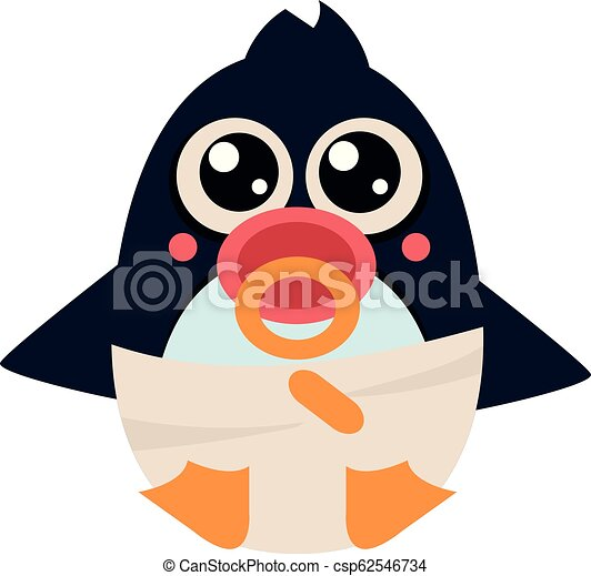 Penguin Baby in Pampers with a. Vector Illustration - csp62546734