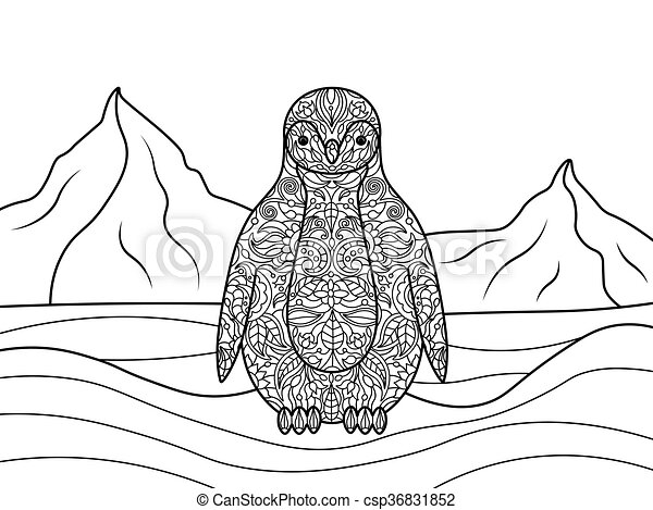 - Penguin Coloring Book For Adults Vector Illustration.