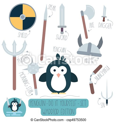 Penguin Do It Yourself Template With Weapons Vector Do It  Vector