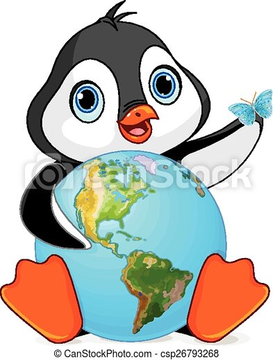 penguin earth day penguin holds the earth at earth day clip art rh canstockphoto com earth day clip art black and white earth day clip art black and white