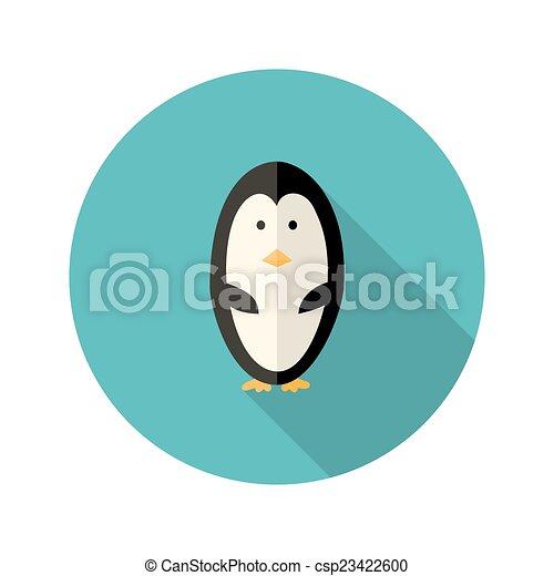 Penguin Flat Icon over blue - csp23422600