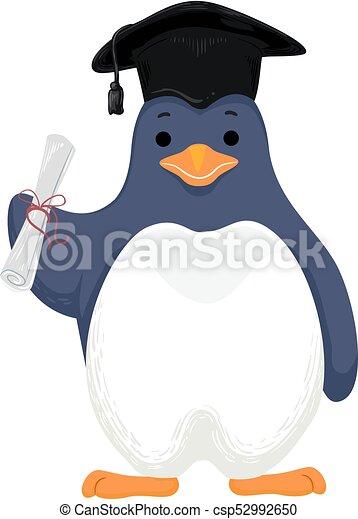 Penguin Graduate Cap Diploma - csp52992650
