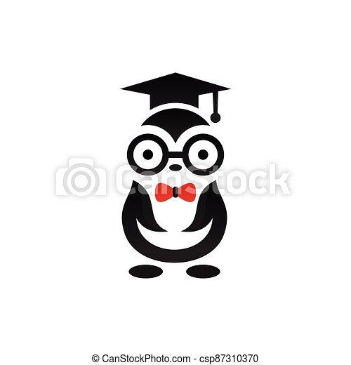 penguin logo with graduation concept - csp87310370