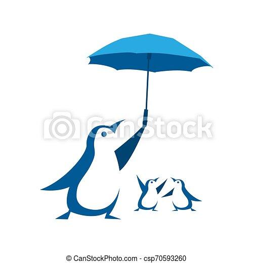 Penguin protect their children with umbrella. .Vector illustration - Vector - csp70593260