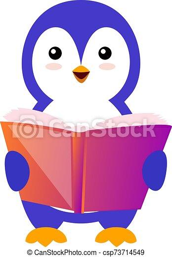 Penguin reading book, illustration, vector on white background. - csp73714549