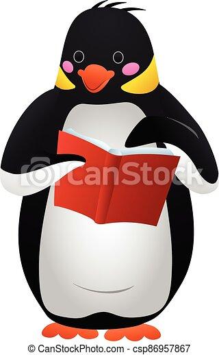 Penguin reads icon, cartoon style - csp86957867