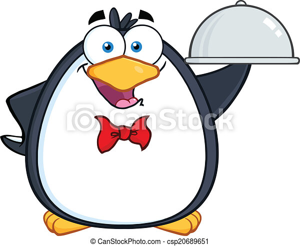 waiter penguin serving food on a platter clipart vector search rh canstockphoto com water clip art for kids water clip art pictures