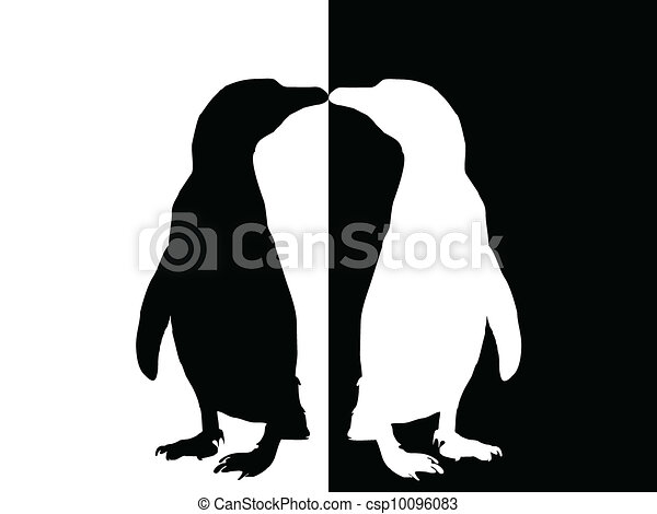Line Drawing Penguin : Penguin silhouette. black and white vector search clip