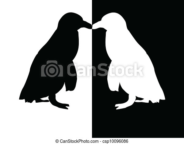 penguin - silhouette. penguin black and white vector - search clip