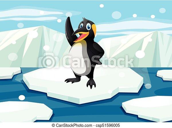 Penguin standing on iceberg illustration for Clipart iceberg