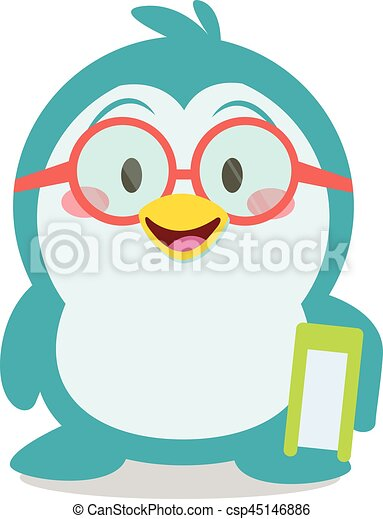 Penguin with book character vector - csp45146886