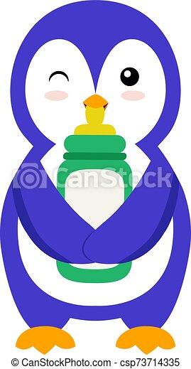 Penguin with bottle, illustration, vector on white background. - csp73714335
