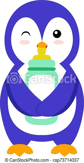 Penguin with bottle, illustration, vector on white background. - csp73714337