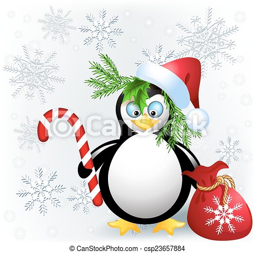 Penguin with Christmas candy - csp23657884
