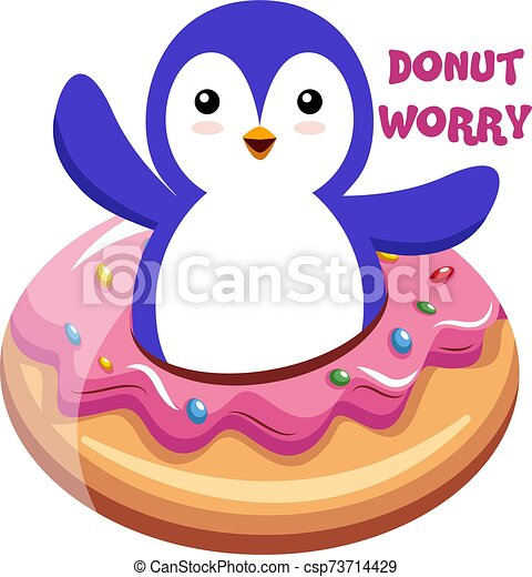 Penguin with donut, illustration, vector on white background. - csp73714429