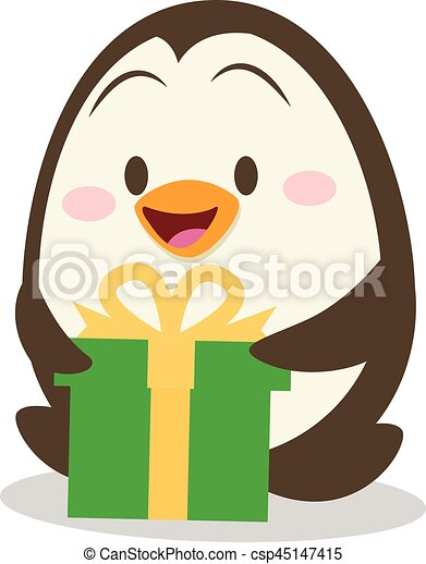 Penguin with gift design vector illustration - csp45147415