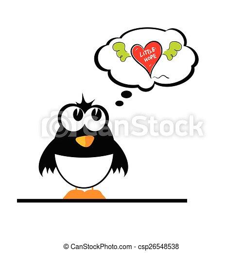 penguin with heart vector - csp26548538