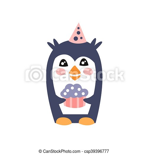 Penguin With Party Attributes Girly Stylized Funky Sticker - csp39396777