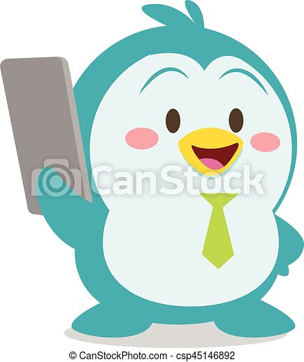 Penguin with phone character vector - csp45146892